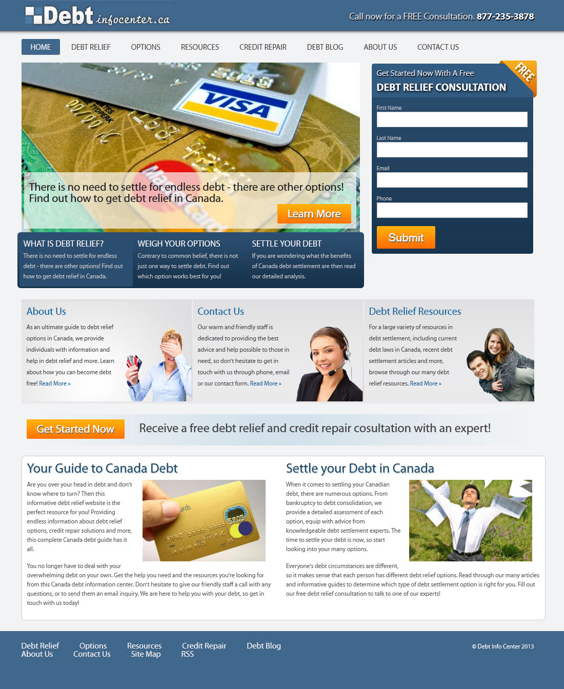 DebtInfoCenter.ca Website Design & Development