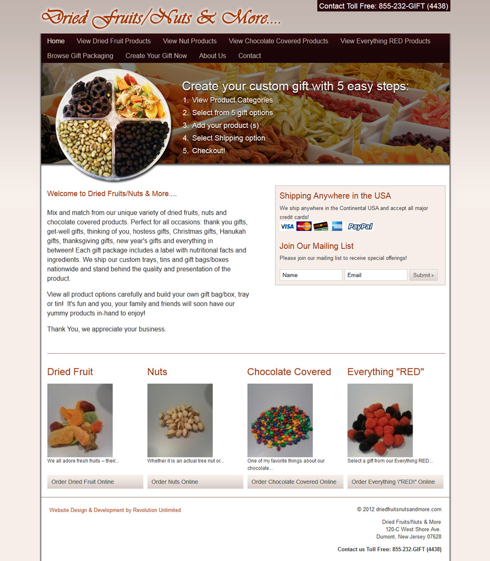 Dried Fruits/Nuts & More Ecommerce Website