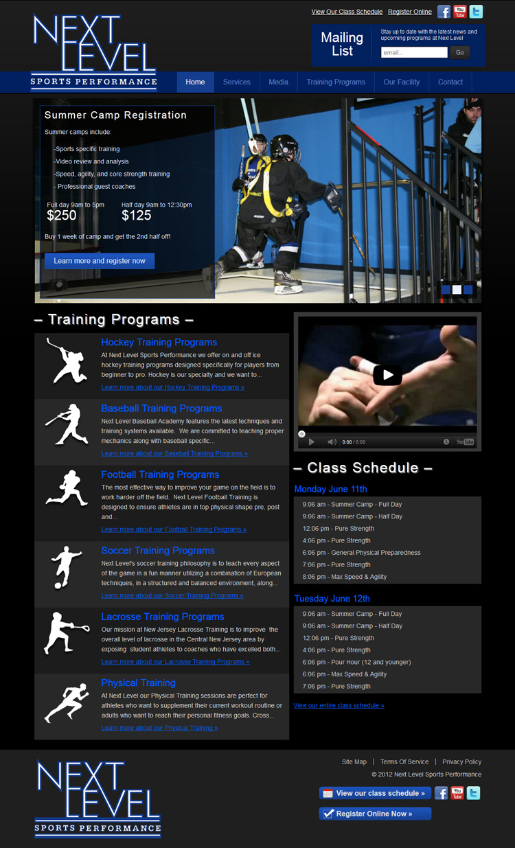 Next Level Sports Performance Website