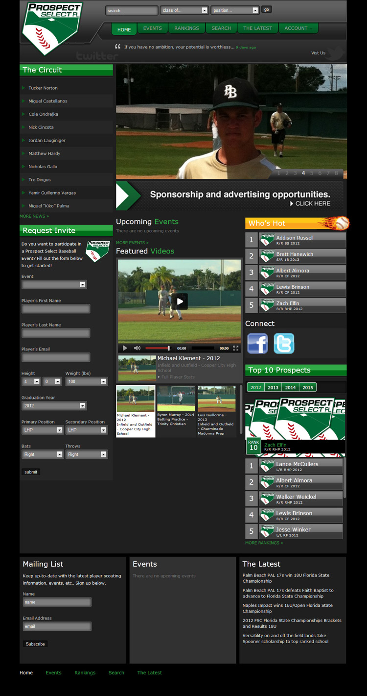 Prospect Select Baseball Website