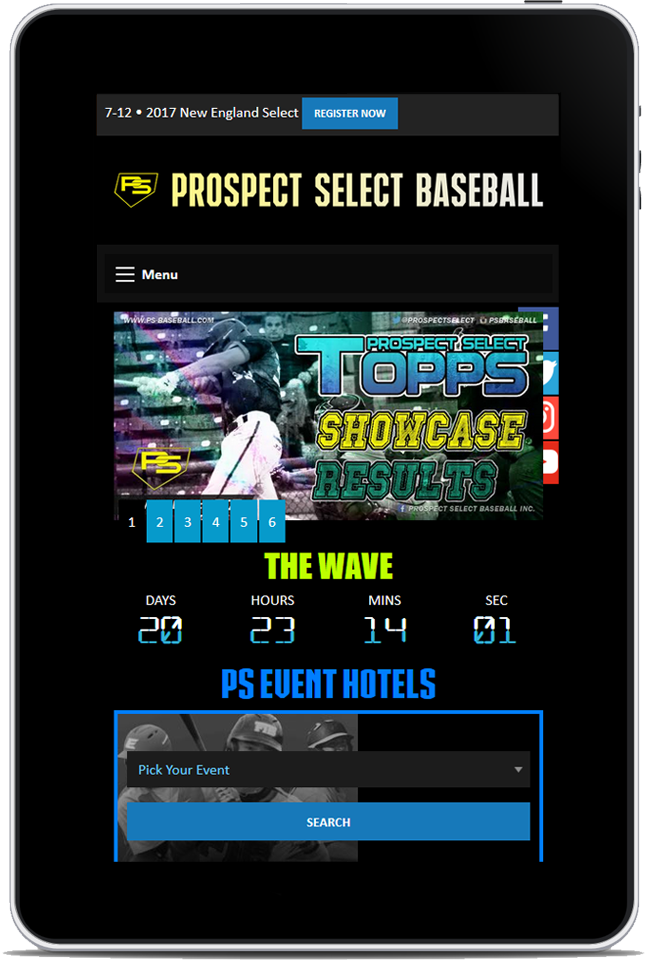 Prospect Select Baseball 2017 Website Redesign