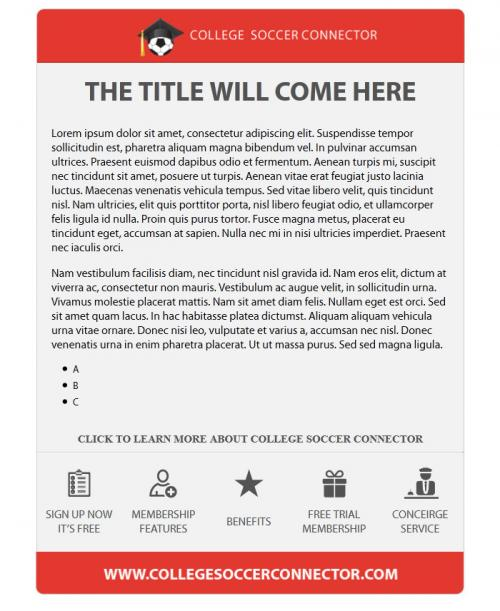 college soccer connector microsites email templates