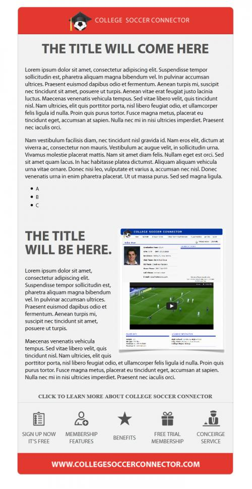 college soccer connector microsites email templates. Black Bedroom Furniture Sets. Home Design Ideas