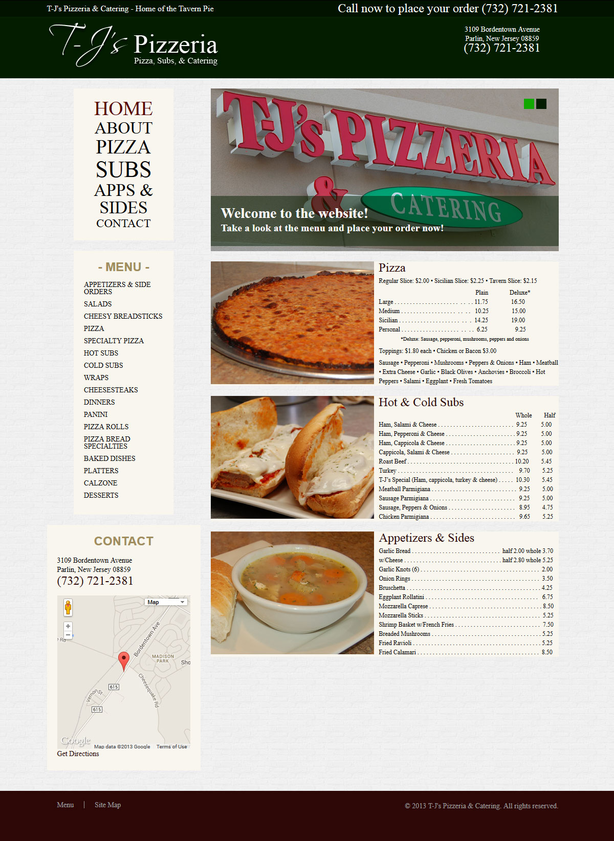T-J's Pizzeria & Catering Website