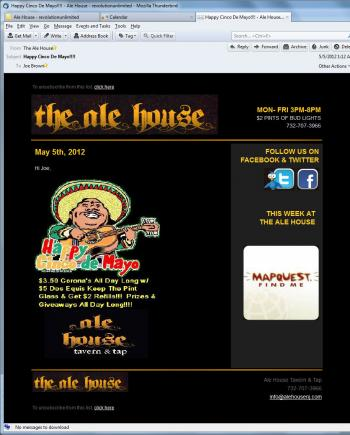 The Ale House Tavern & Tap Email Marketing